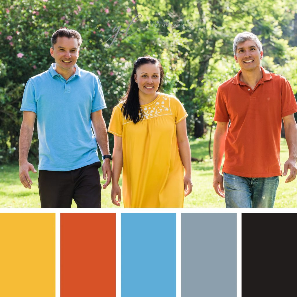 Family Photoshoot - combine bold colours to make a statement.